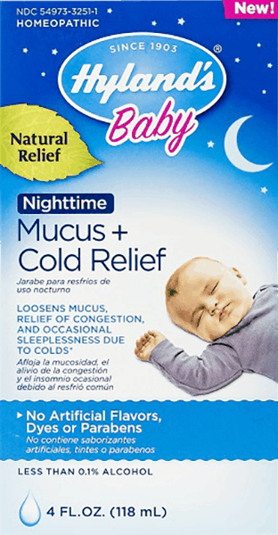 $1.25 for Hyland's® Baby Nighttime Mucus + Cold Relief. Offer available at multiple stores.