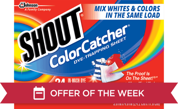 $0.90 for Shout® Color Catcher® Dye-Trapping Sheet (expiring on Sunday, 07/01/2018). Offer available at multiple stores.