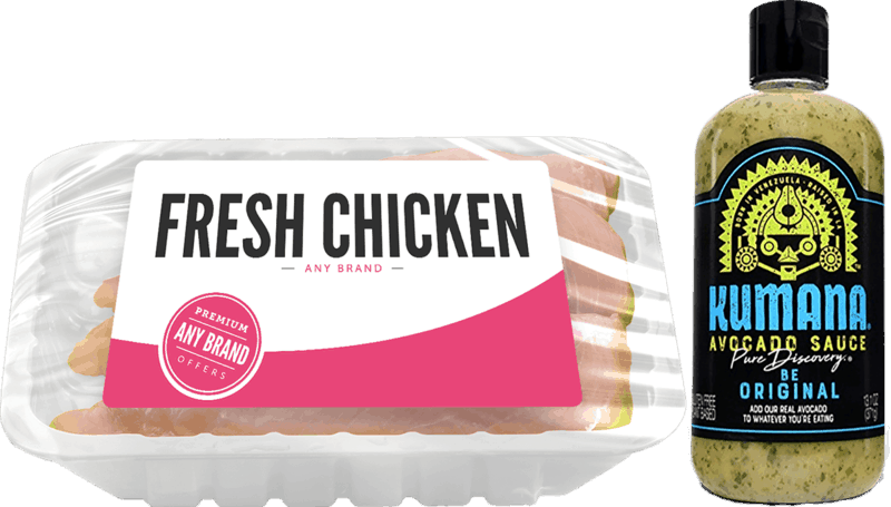 $3.00 for Kumana® Avocado Hot Sauce & Any Brand Chicken (expiring on Saturday, 03/14/2020). Offer available at multiple stores.