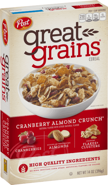$0.50 for Post® Great Grains® Cranberry Almond Crunch® Cereal (expiring on Friday, 05/10/2019). Offer available at multiple stores.