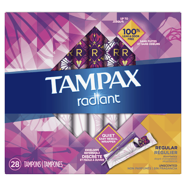 $0.25 for Tampax® Radiant Tampons (expiring on Sunday, 09/01/2019). Offer available at multiple stores.