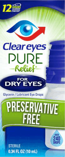 $3.00 for Clear Eyes Pure Relief® for Dry Eyes (expiring on Wednesday, 05/02/2018). Offer available at multiple stores.