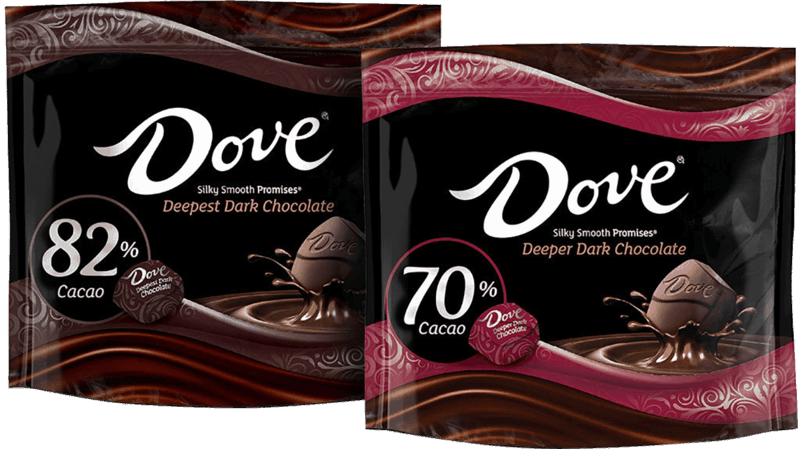 $1.00 for DOVE® High Cacao Chocolate (expiring on Tuesday, 08/24/2021). Offer available at multiple stores.