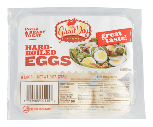 $0.50 for Great Day Farms™ Hard-Boiled Eggs (expiring on Sunday, 02/02/2020). Offer available at Walmart.