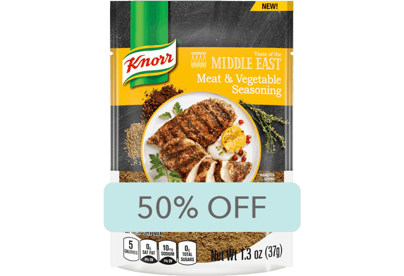 $1.50 for Knorr Taste of the Middle East Meat & Vegetable Seasoning (expiring on Sunday, 04/26/2020). Offer available at Walmart.