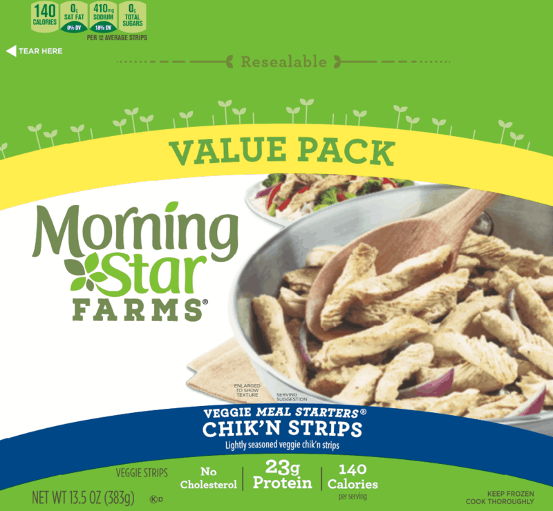 $1.00 for MorningStar Farms Chik'n Strips (expiring on Wednesday, 06/10/2020). Offer available at Walmart.