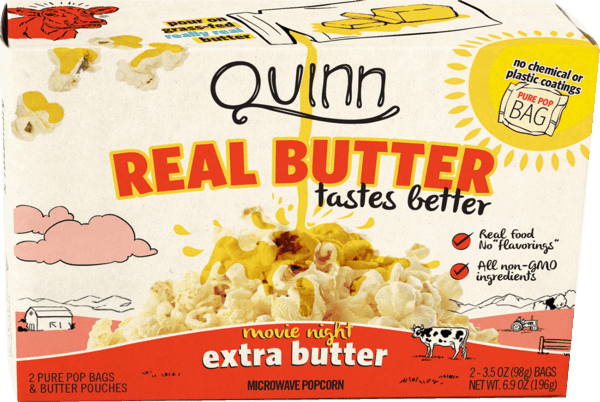 $0.50 for Quinn Microwave Popcorn - Real Butter Tastes Better (expiring on Saturday, 01/20/2018). Offer available at Publix, H-E-B.