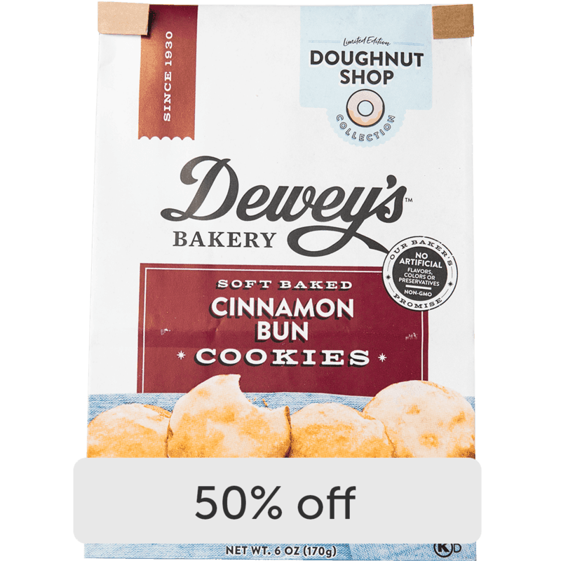 $2.00 for Dewey's Bakery Soft Baked Cookies and Cookie Thins (expiring on Monday, 09/06/2021). Offer available at Save Mart (Food Giant).