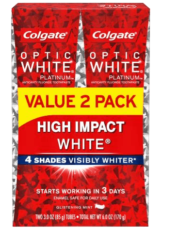$1.75 for Colgate® Optic White® Toothpaste (expiring on Monday, 12/02/2019). Offer available at Walmart.