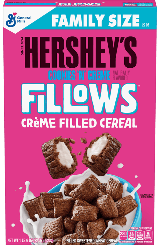 $1.00 for HERSHEY'S Cookies 'n' Creme Fillows™ Cereal (expiring on Sunday, 02/02/2020). Offer available at Walmart.