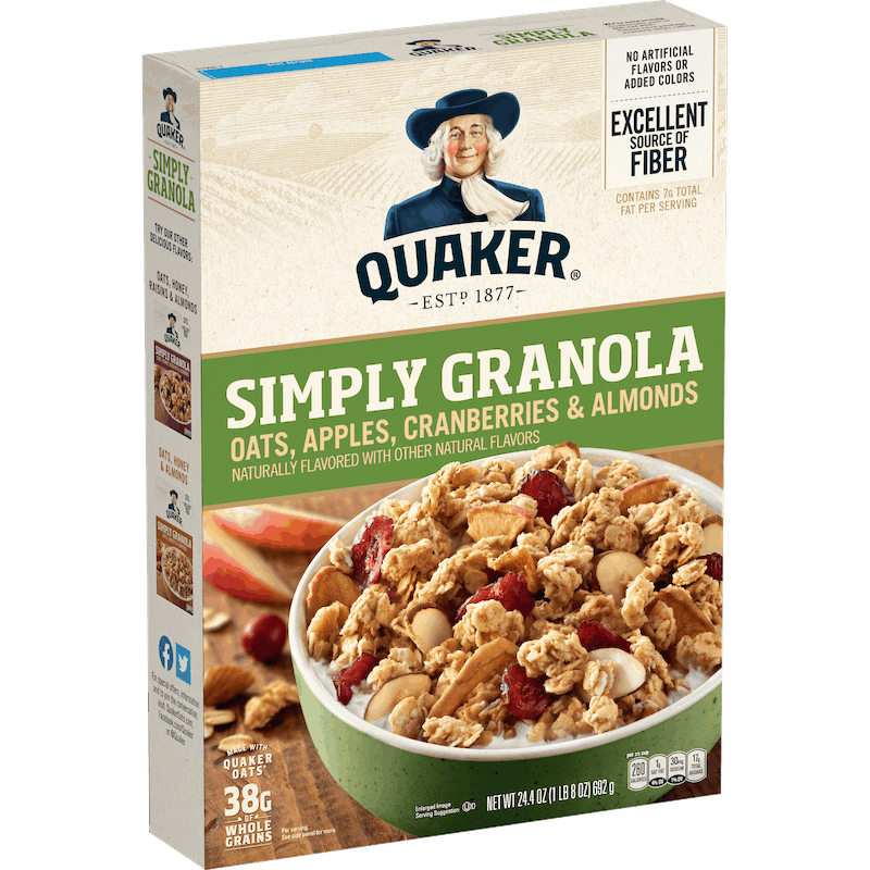 $0.50 for Quaker Simply Granola (expiring on Friday, 04/30/2021). Offer available at Walmart, Walmart Grocery.
